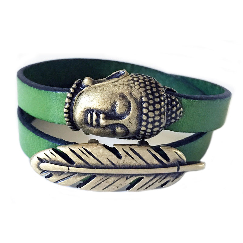 CHAK-WRAPS™ Big Buddha & Feather Brass Leather Bracelet