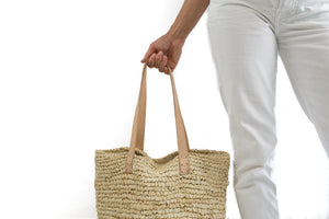 Beach bag in sand