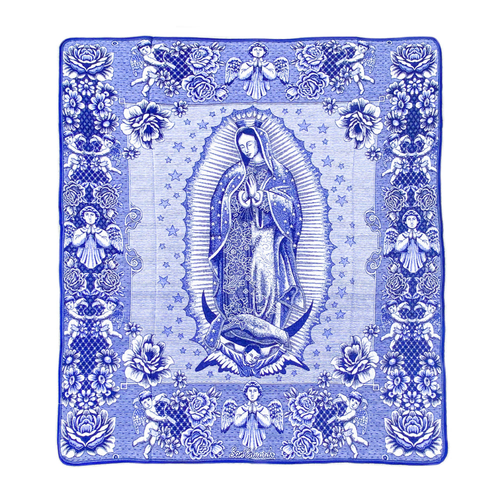 Guadalupe Blanket - Electric Blue & White
