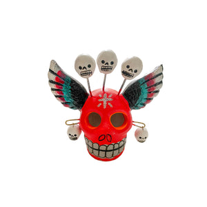 Ceramic Skull With Wings - Red
