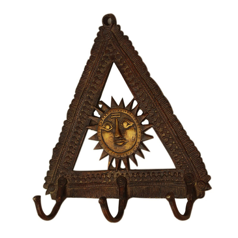 Brass Triangle Sun Wall Hook - Antique