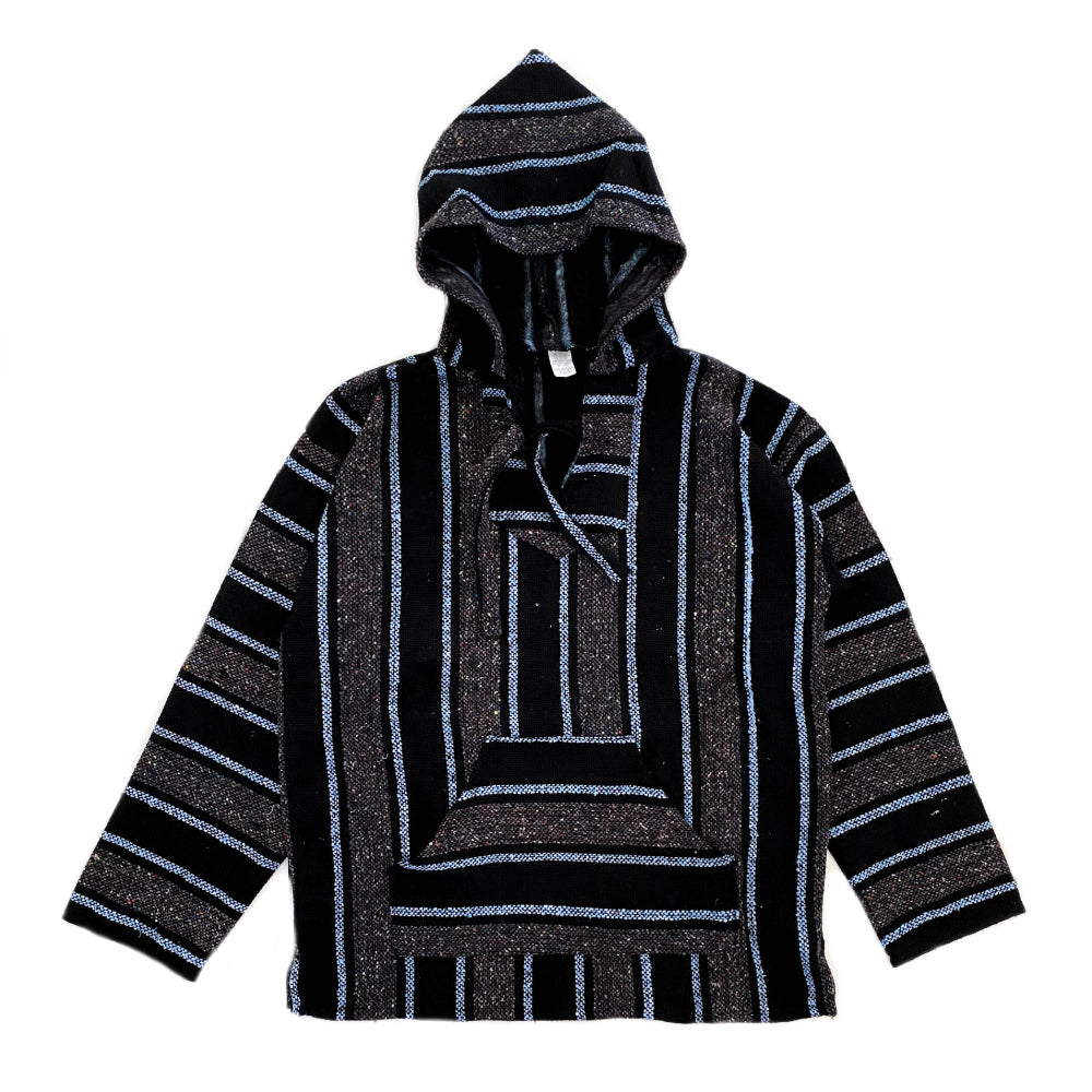 Men's Baja - Large Black & Baby Blue Stripe
