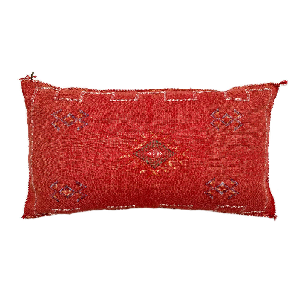Cactus Silk Lumbar Cushion - Salmon Red