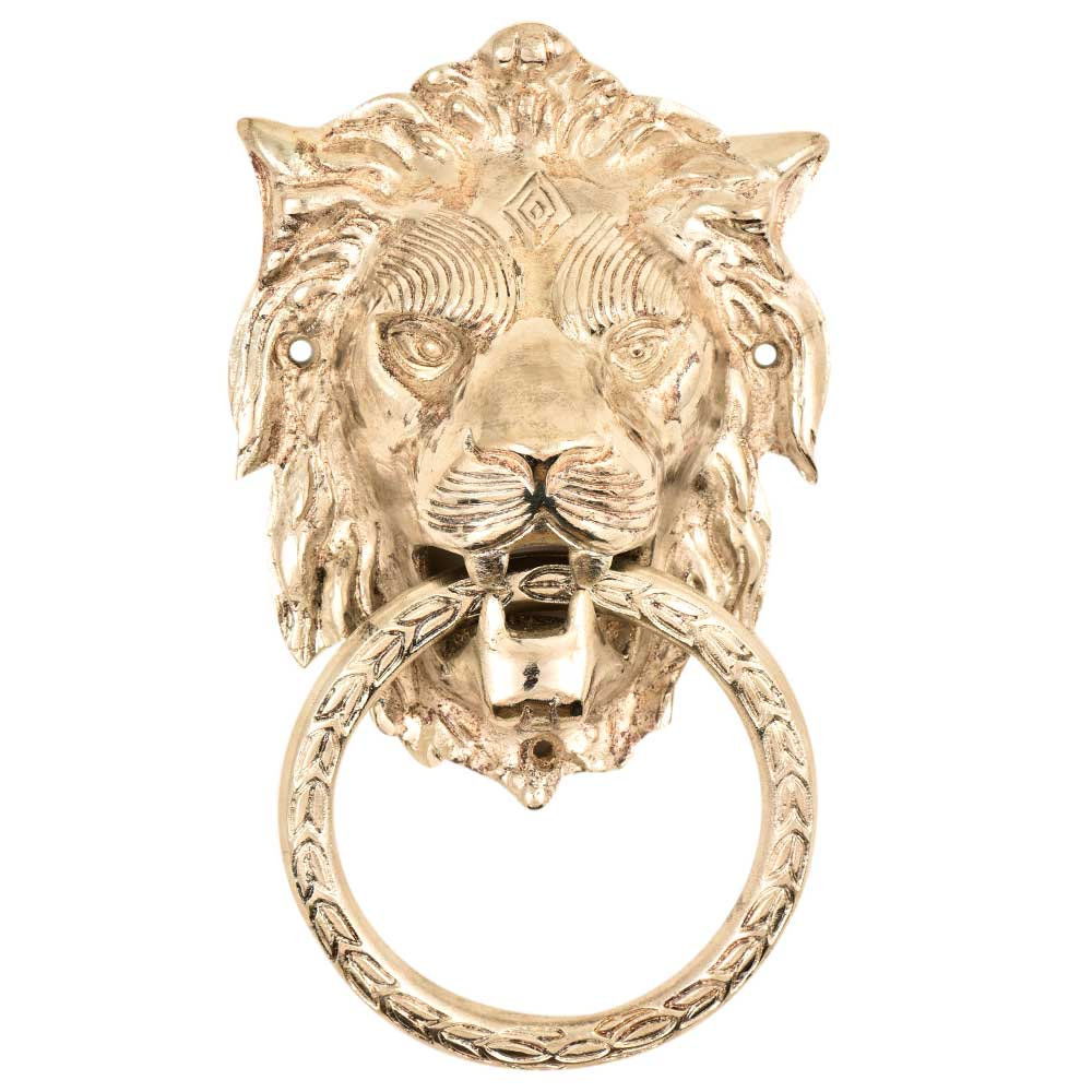 X-Large Brass Lion Door Knocker - Silver finish