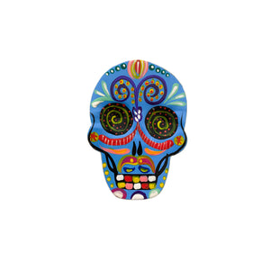 Tin Sugar Skull Magnet - Blue