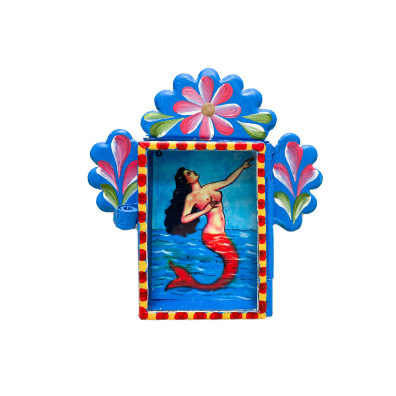 Nicho Mermaid Shadow Box - Blue Flowers