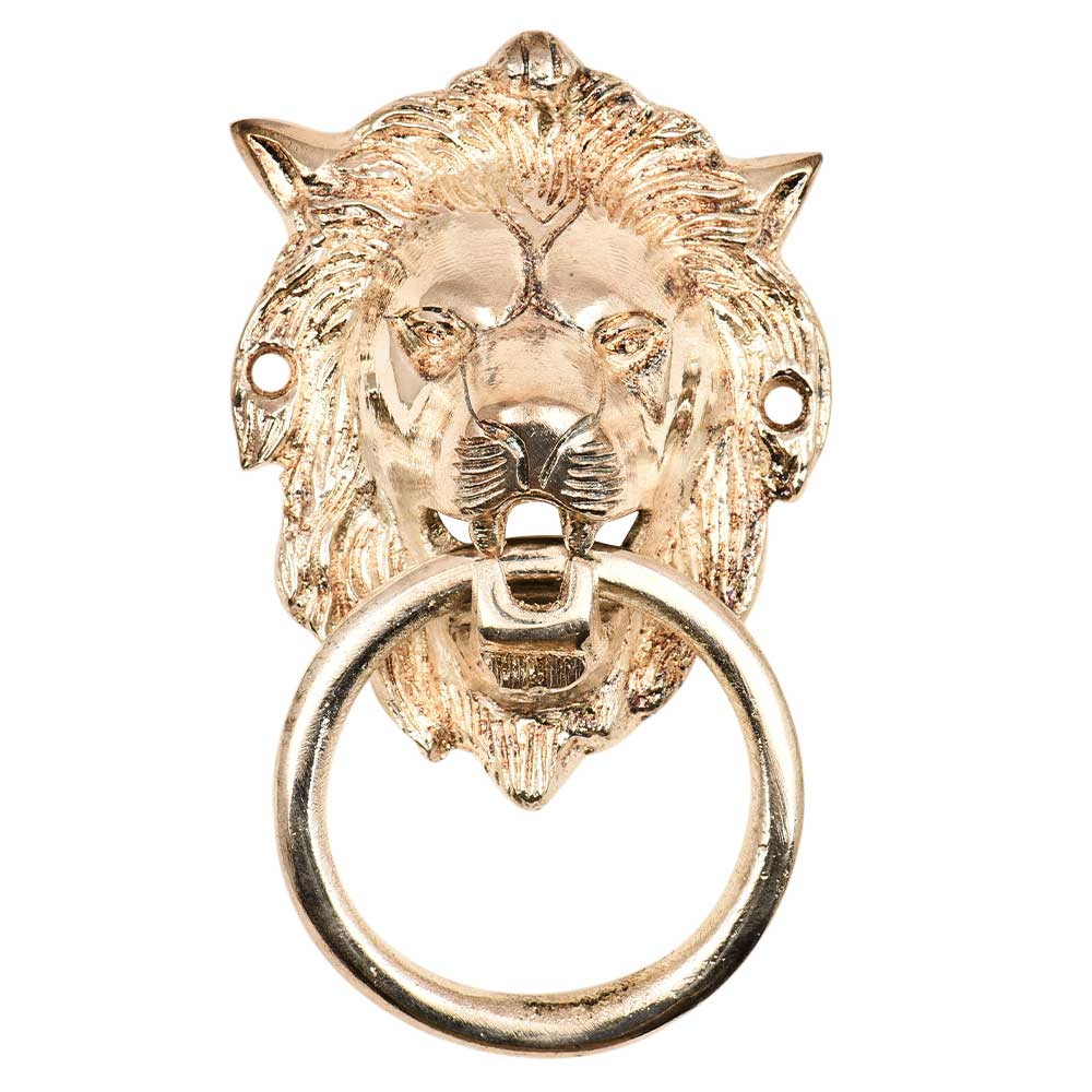 Silver Brass Small Lion Door Knocker