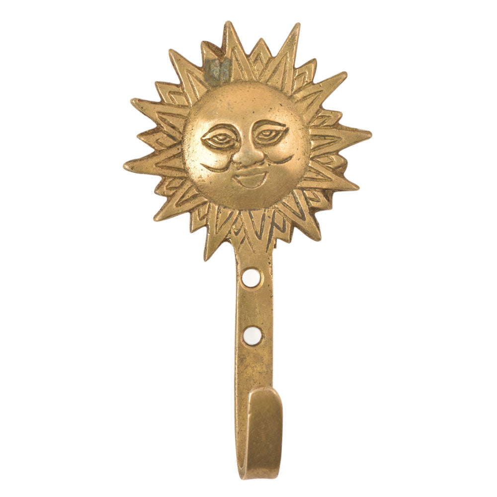 Brass Sun Wall Hook - golden
