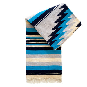 100% Wool Zuma Diamond Blanket - Light Grey & Turquoise