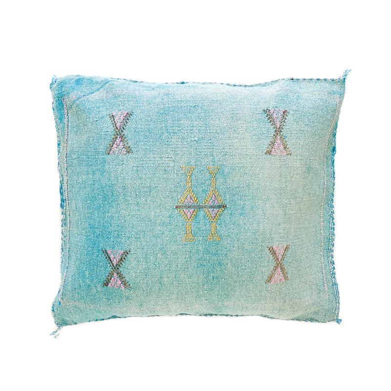 Cactus Silk Cushions - Light Blue 4