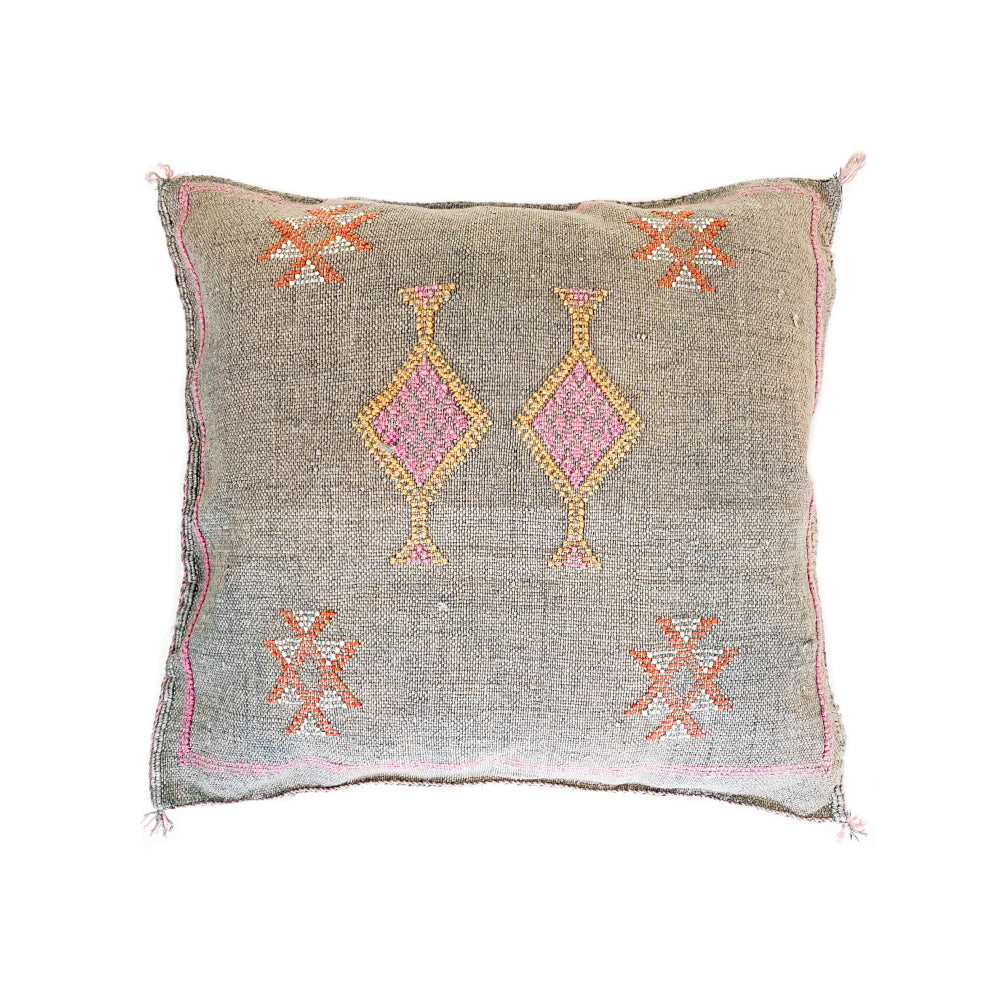 Cactus Silk Cushions - Light Grey 1