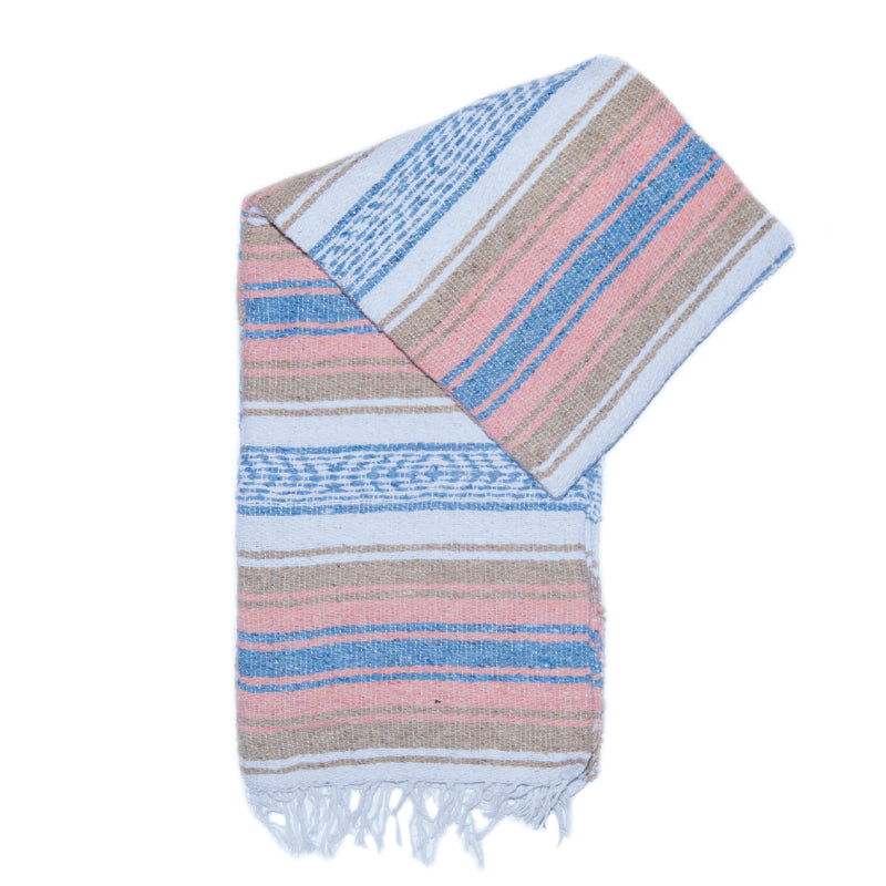 Small Falsa Blanket - Pastel Blue, Peach & Tan