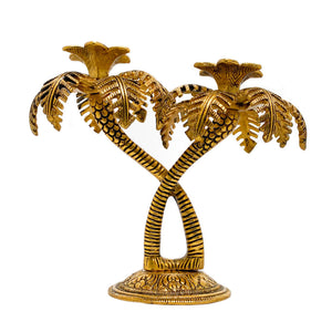 Double Palm Tree Candle Holder - Golden
