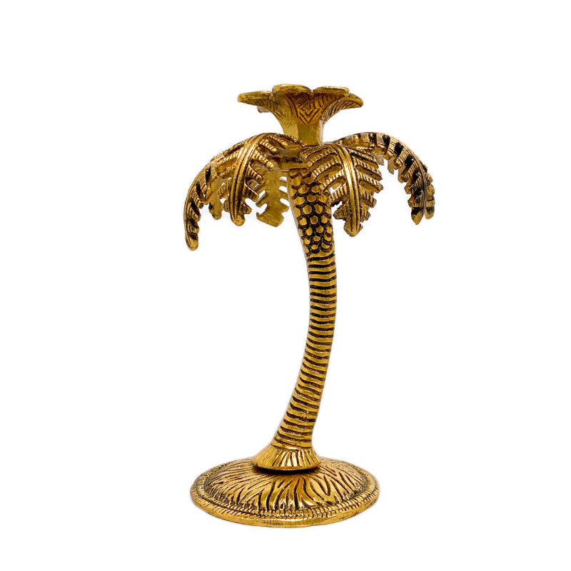Single Palm Tree Candle Holder - Golden