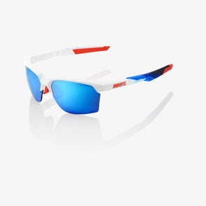 Sportcoupe - Polished White/Geo Print - HiPER Blue Multilayer Mirror Lens