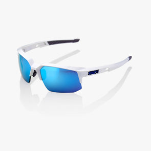 Speedcoupe - Matte White - Hiper Blue Multilayer Mirror Lens