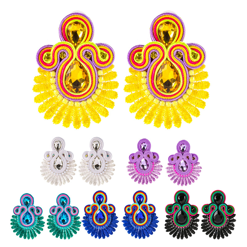 Crystal Decoration Drop Earring Soutache Earrings Jewelry for Female - Black Color