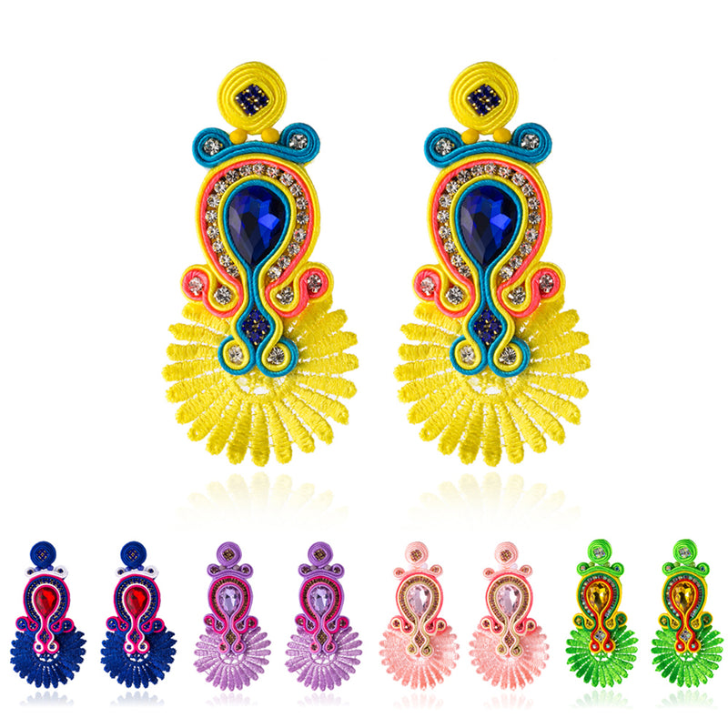 Crystal Decoration Drop Earrings Ethnic Soutache Jewelry for Women-Yellow Color