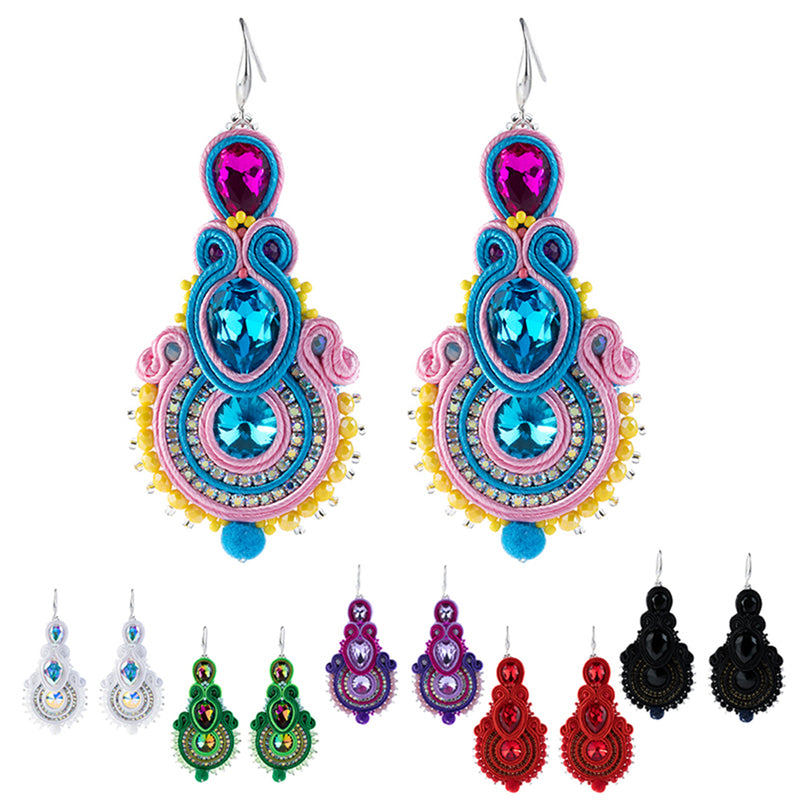 Big Hanging Earring Soutache Leather Drop Earrings for women-Black Color