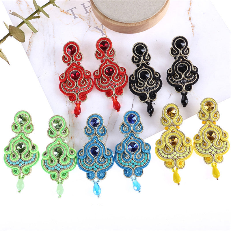 Soutache Rhinestone Ethnic Hanging Drop Earring Jewelry For Women- Green Color