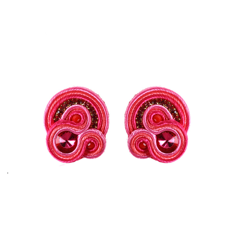 Ethnic style Soutache Crystal Drop Earring Earring for women-Pink Color