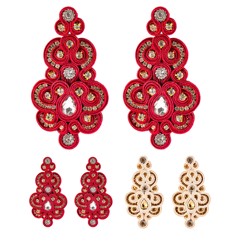 Soutache Handmade Ethnic Crystal Decoration Drop Earring for Women-Red Color