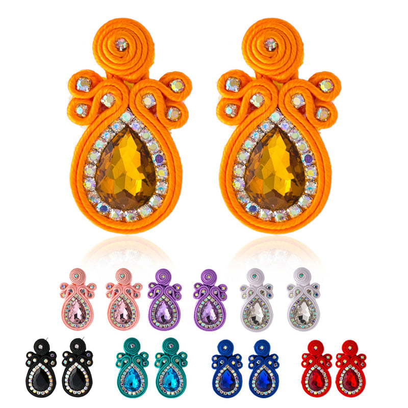 Ethnic style Crystal Decoration Big Soutache Earring Jewelry for Women -White Color