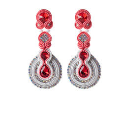 Female Soutache Ethnic Style Drop Earrings-Red Color