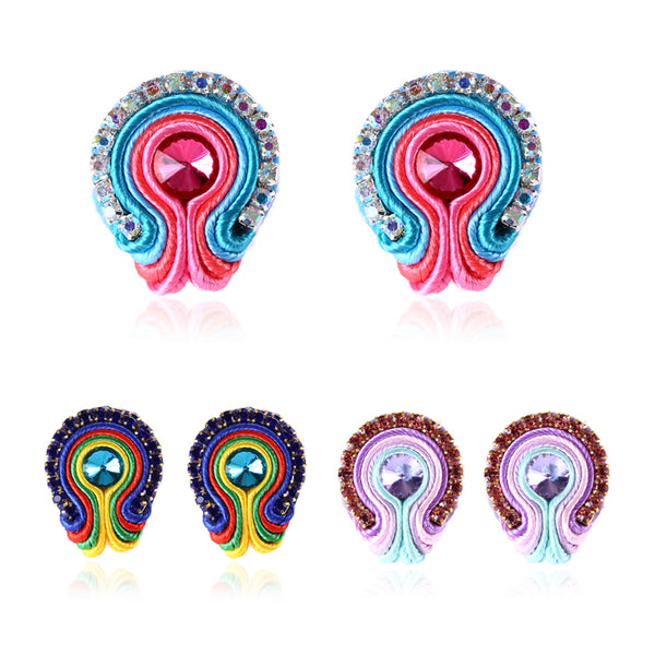 Rapheeze Soutache D Earring for Female Crystal Decoration-Purple Color
