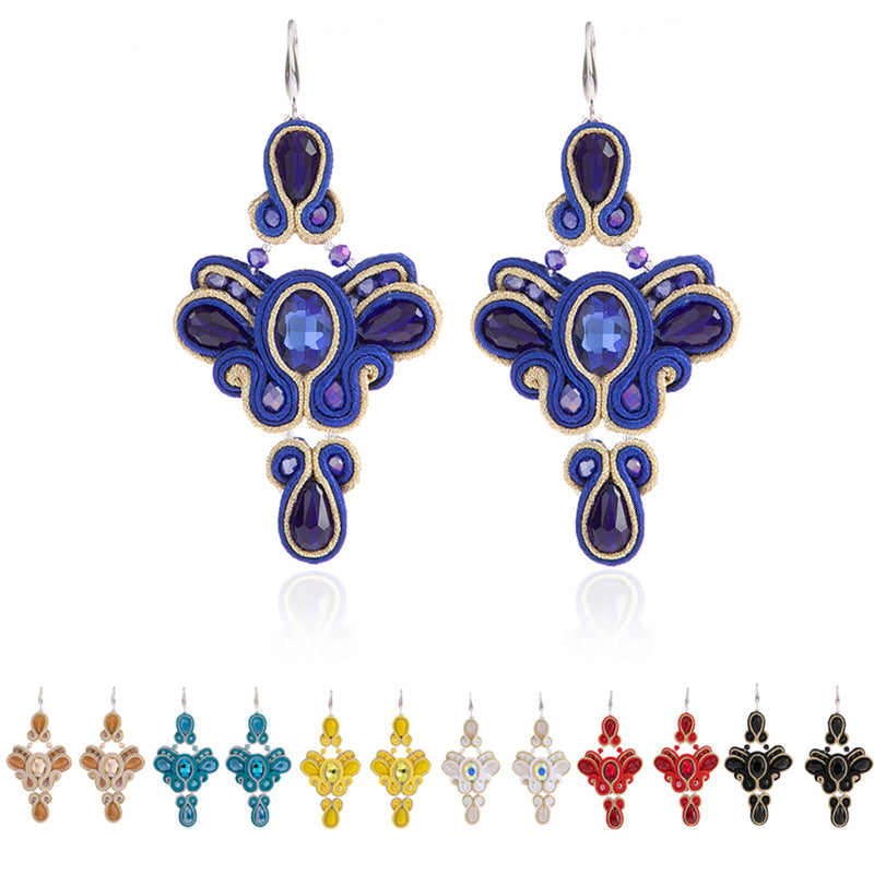 Butterfly shaped soutache Leather Drop Earrings for Women-Red Color