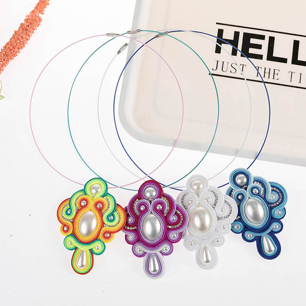 Vintage Fashion Pendant Soutache Necklace for Women Girl- White Color