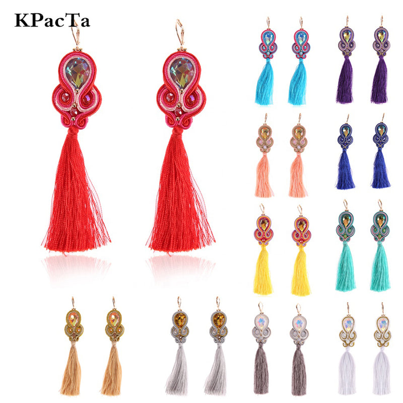 Ethnic Style Long Tassel Hanging Handmade Soutache Earrings for Women- Red Color