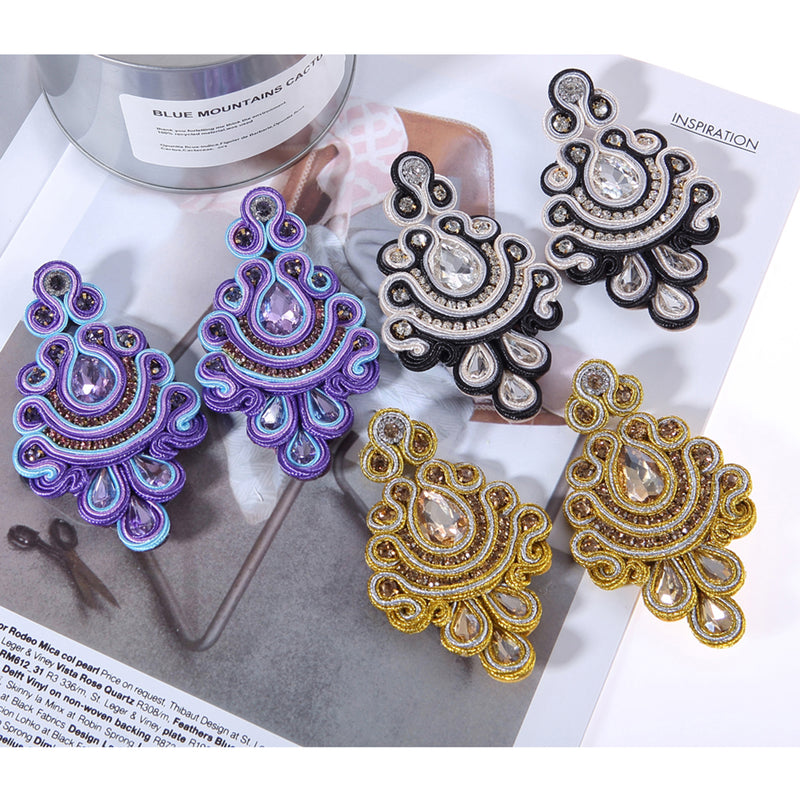 Crystal decorated Ethnic Style handmade Soutache Earrings for Women-Purple Color