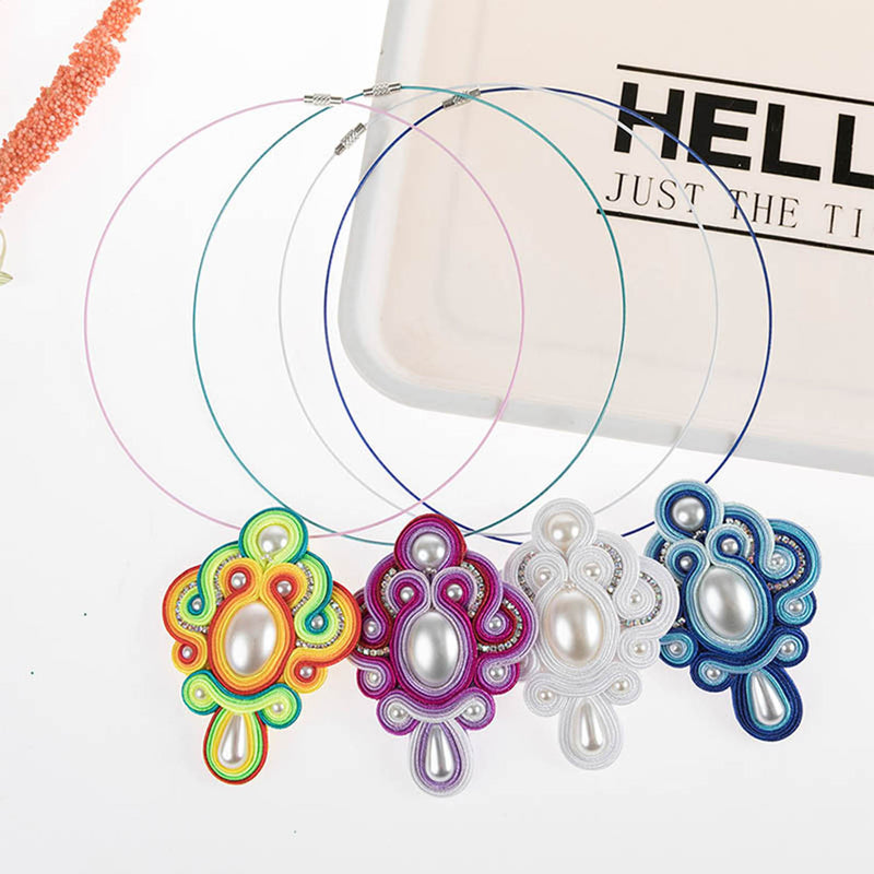 Vintage Fashion Pendant Soutache Necklace for Women Girl- Blue Color