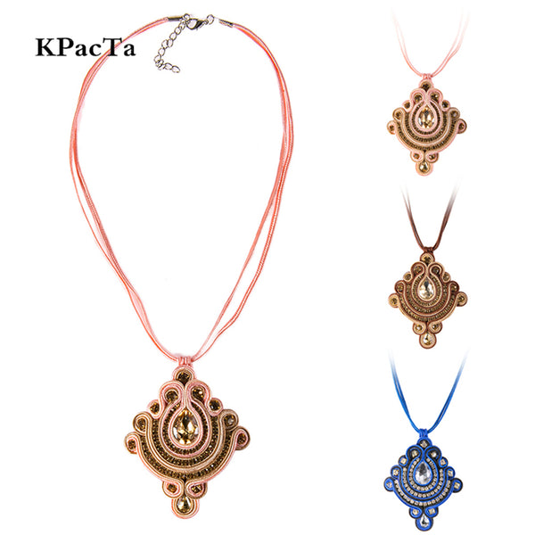 Rhinestone Decoration Ethnic style Soutache Pendant Necklace for Women-Pink Color