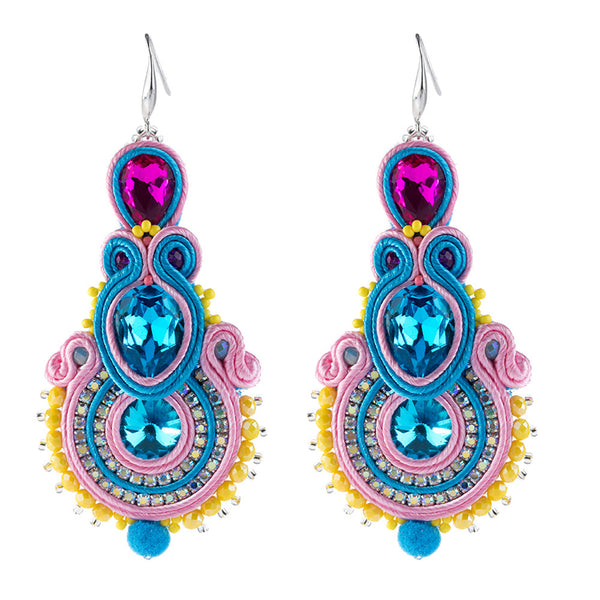 Big Hanging Earring Soutache Leather Drop Earrings for women-Sky Blue Color