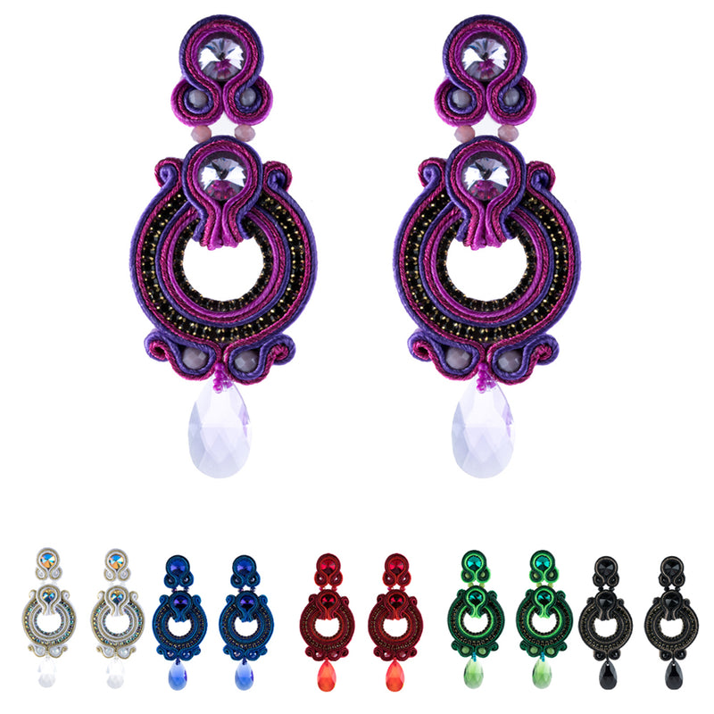Ethnic Style Tassel Earrings for Ladies Pendant Leather Jewelry-Purple Color