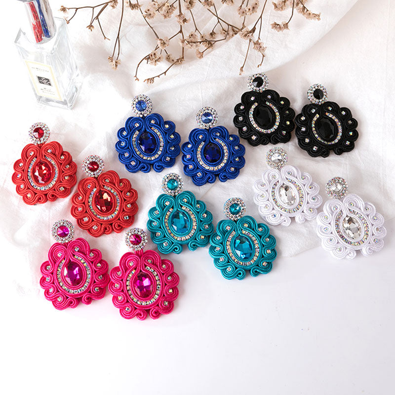 Big Drop Crystal Decoration Handmade Soutache Earring for female-Black Color