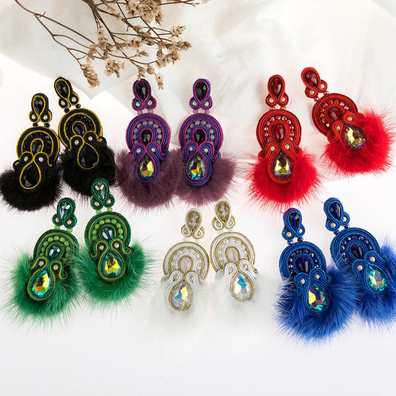 Ethnic Style Soutache Leather Jewelry for Ladies Tassel Earrings-Black Color