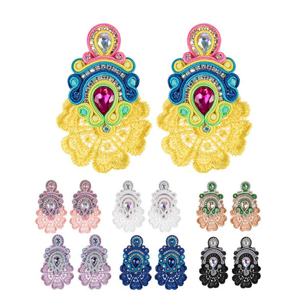 Large Crystal Pendant Soutache Earrings for Female-Pink Color