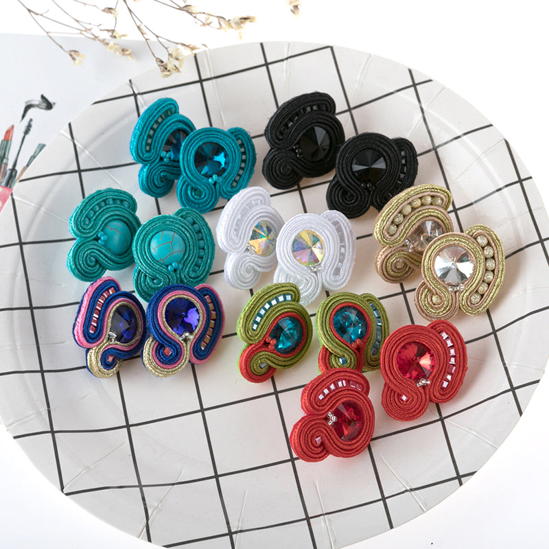 Light Luxury Decorative Charm Handmade Soutache Earring for women-Black Color