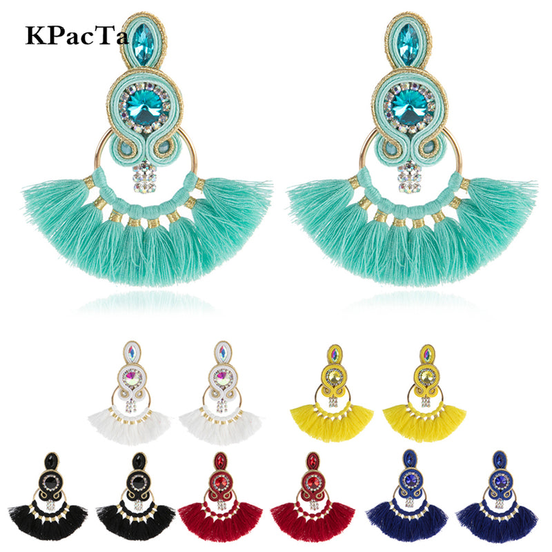 Tassel Hanging Ethnic Style Handmade Soutache Earrings for Women - Black Color