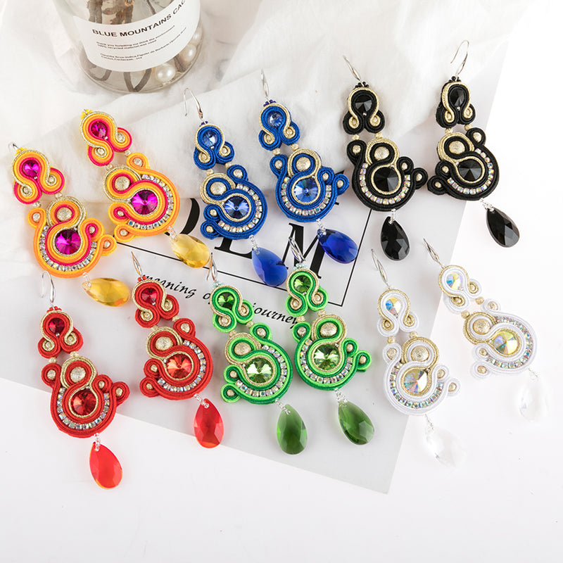 Soutache Crystal Decorative Hanging Earrings for Ladies -White Color