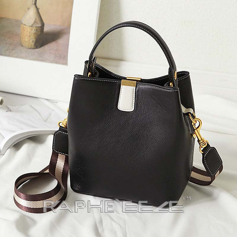 Genuine Leather Tote Bag for Woman - Black