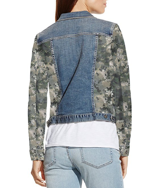 Classic Denim Jacket Long Sleeves with Snake in the Camouflage Designed