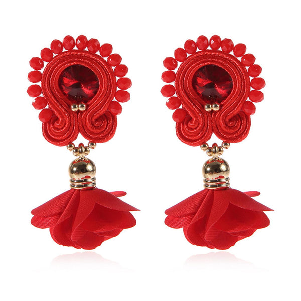 Soutache Big Drop Leather Hanging Earrings Jewelry for Women-Red Color