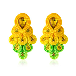 Peacock Tail Shape Soutache Earring for women-Yellow, Green Color