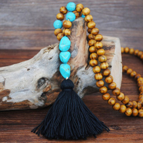 Handmade Wooden Beads Long Necklace & Pendant - 3 Beads Shape with Black Tassel