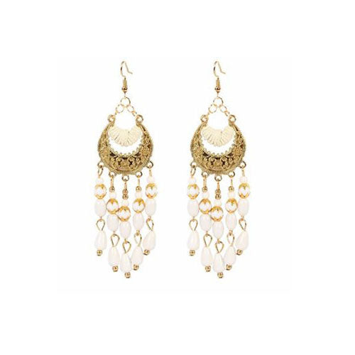 Bohemian Crescent Style Beaded Earrings For Women's White Color