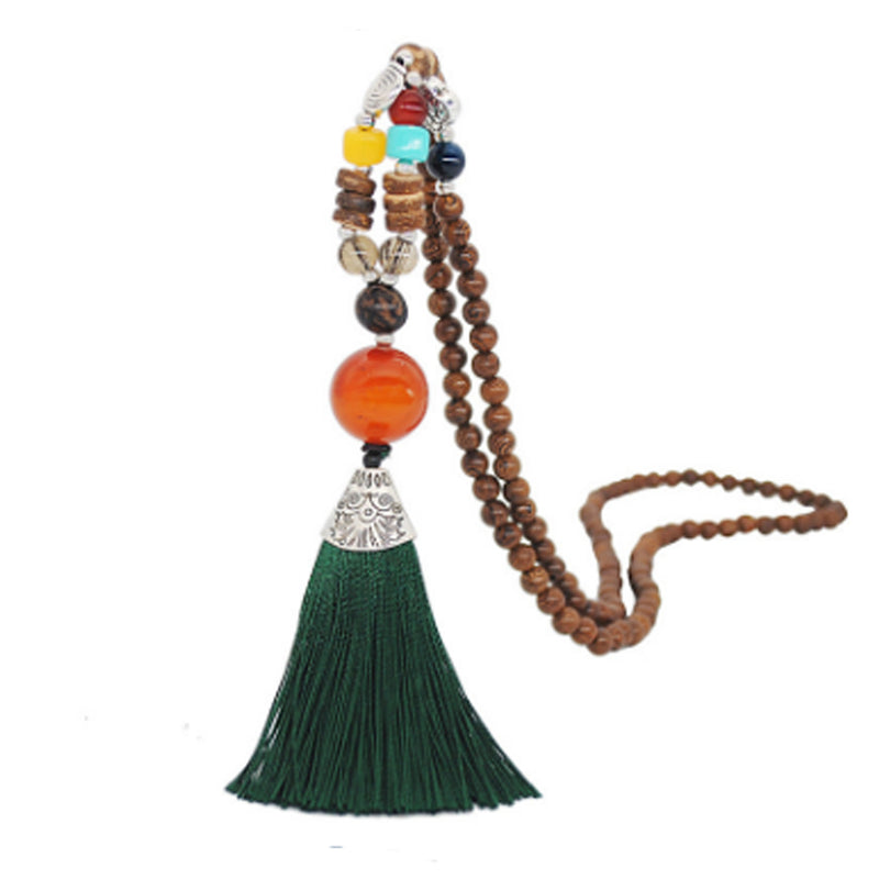 Women's Retro Ethnic Style Handmade Beaded Pendant Necklace - Green Tassel